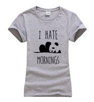 Wholesale Panda Tee Shirts - Wholesale-2016 summer I HATE MORNINGS cute Panda Print Women T-shirt fashion harajuku brand korean tee shirt femme funny hipster punk tops
