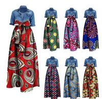 Wholesale New Skirts Denim Fashion - 2017 new Womens Dashiki Dress fashion plus size African Famous style Print Long Maxi A Line Skirt Bust Skirt Vintage Ball Gown
