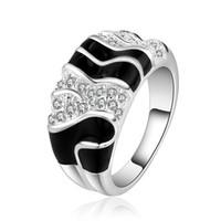 кольца зебры оптовых-мода дизайн краска зебра пересечения стерлингового серебра ювелирные изделия кольцо SR513, новый белый драгоценный камень 925 серебряные кольца обручальные кольца