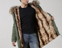 Wholesale Thick Winter Dog Coats - Khaki fur men winter coats Mr Mrs itlay 100% rabbit fur long parka Mr Mrs furs army green canvas jacket