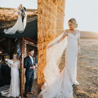 nuevos vestidos de estilo romantico al por mayor-2017 nuevo romántico primavera otoño mangas largas vestidos de novia cuello escarpado vestidos de boda de encaje estilo rural vestidos nupciales