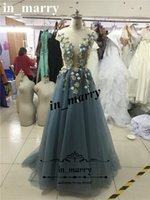 Wholesale Navy Blue Floral Prom Dress - Sexy 3D Floral Paolo Sebastian Prom Dresses 2017 A Line Illusion Vintage Lace Plus Size 100% Real Images African Arabic Formal Evening Gowns