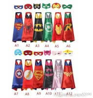Wholesale Funny Costume Kids - hot Double side L70*70cm kids Superhero Capes and masks - Spiderman Flash Supergirl Batgirl Robin for kids capes with mask children cloak