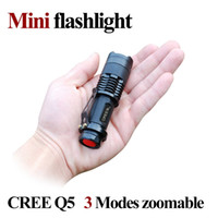 Wholesale Mini Led Torch 7w - 7W 300 Lumen CREE Q5 LED Flashlight Torch 3-mode Adjustable Focus Zoom Waterproof Flash Light Lamp Free Shipping