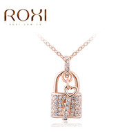Wholesale Rose Gold Heart Lock Necklace - New ROXI White Rose Gold Color Necklaces Locking & Key Pendants Unique CZ Fashion Jewelry Gifts Necklace For Women Girlfrend