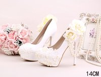 White Women Pumps Lace Pearls Flower Nuptiale de mariée Chaussures de mariage Prom Evening Night Club Party Heels 10 12 14 CM Talon 066