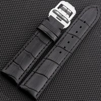 JAWODER Watchband 20mm 22mm Homens de alta qualidade Black Brown Bamboo Grain Genuine Leather Watch Band Strap Deployment Buckle