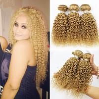 renk 27 kıvırcık toptan satış-Sıcak Satış 3 adet Brezilyalı Virgin İnsan Saç Paketler # 27 Kinky Kıvırcık Saç Uzantıları Saf Renk Çilek Sarışın Saç Örgüleri 10-30 Inç