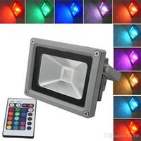 rgb led inundaciones controladas al por mayor-10W al aire libre 20W 30W 50W 100W RGB llevó la luz de inundación que cambia la lámpara de la lavadora de la pared IP65 prenda impermeable + 24key IR teledirigida la iluminación del LED