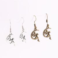Wholesale Antique Elf - 20pcs lot Metal Alloy Zinc Antique bronze silver Moon Elf Pendant Charm Drop Earing Diy Jewelry Making C0677