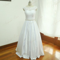 Wholesale Vintage Bridal Gowns For Sale - Open Back Vintage Lace Real Wedding Dresses Cheap For Sale Cap Sleeve A Line Satin Wedding Gowns Bridal Dresses With Crystal Sash