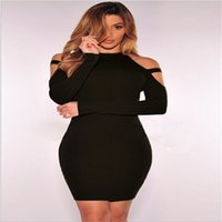 Wholesale Sexy Spandex Mini Skirt - Fashion New 5 Color Sexy Ladies Dress Off Shoulder Round Neck Tight Night Club Mini Skirt Simple Solid Color B-43