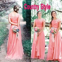Wholesale Lavender Goddess Dresses - Country Style Goddess Coral Bridesmaid Dresses Long Formal Boat Neck Capped Sleeves Lace Ruched Chiffon Wedding Party Formal Gowns Custom