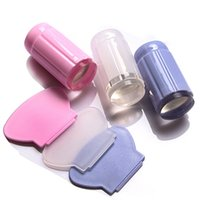 Wholesale Stamping Nail Polishes - Wholesale- Clear Nail Art Jelly Stamper Stamp Scraper Set Polish Stamping Manicure Tools