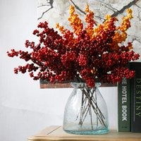 Wholesale Wholesale Artificial Mini Fruit - Wholesale- 1PC DIY Mini Fruit Berries Artificial cherry Bouquet For Wedding Home Party Decorative 48cm Length