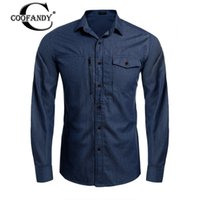 Wholesale mens slim fit denim shirt - Wholesale- COOFANDY 2017 Spring New Fashion Mens Shirts Long Sleeve Denim Chest Zipper Shirts Slim Fit Cotton Shirts Men Cusual with Pocket