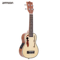 "Wholesale Solid Spruce Rosewood - Wholesale-ammoon Spruce 21"" Acoustic Ukulele 15 Fret 4 Strings Stringed Musical Instrument with Built-in EQ Pickup"