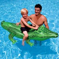 schwimmen krokodil spielzeug großhandel-Krokodil-aufblasbarer Hin- und Herbewegungs-grünes Krokodil-Mitfahrer-aufblasbares Swimmingpool-Hin- und Herbewegungs-Spielzeug mit Griff-Wasser-Spielwaren für Kinder