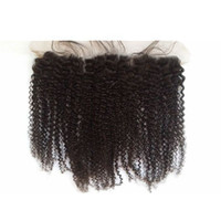 Wholesale afro kinky curly closure resale online - color lace frontal closure peruvian afro kinky curly full frontal lace closure with baby hair bleached knots