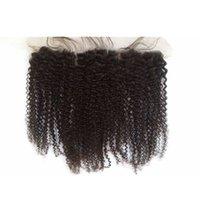 afro kinky lockige spitze verschluss großhandel-# 4 Farbe Lace Frontal Schließung peruanischen Afro verworrene lockige volle frontale Spitze Schließung mit Babyhaar gebleichte Knoten