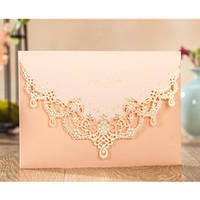 Wholesale Invitations Wedding Invite Cards - Engagement Luxury Pink Hollow Flower Wedding Invitations Elegant Laser Cut Party Invite Cards with Envelopes CW7011
