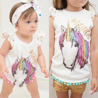 Wholesale Toddlers Sleeveless T Shirts - INS Baby Girls cotton unicorn tassel Romper Summer Cartoon Infant Bodysuit Summer Unicorn Printed ponpon tassel Toddler T-shirt Newborn Tops