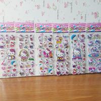 vinilos infantiles mini al por mayor-Pegatinas de burbuja de dibujos animados en 3D Hello Kitty Animals Cat Classic Toys Scrapbook para niños regalo de los niños pegatina de recompensa
