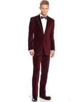 Wholesale Wedding Pant Coat Images - Custom Made Groom Tuxedos Business suit Designer Wedding Groom Tuxedos Dinner Velvet Suit Coat Blazer Trouser (Jacket+Pants)
