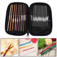 Wholesale 22Pcs Set Multi colour Aluminum Crochet Hooks Needles Knit Weave Craft Yarn Sewing Tools Crochet Hooks Knitting Needles
