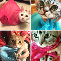 Wholesale cat grooming vest Hight quality polyester breathable pet bathing bags nail cutting bags