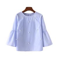 Wholesale Gray Pearl Loose - 2017 Summer Women New Loose casual Shirt Blouse Elegant pearls O-neck 3 4 flare sleeve tops blusas Awedrui