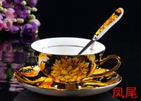 Wholesale Celadon Chinese Tea Set - Bone China Cup & Saucer & Spoon Set,Tea Cup, Flower & Tiger,Coffee Mugs Set gobelet jetable kop en schotel celadon chinese tea cup (200ml)
