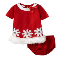 Wholesale Snowflake Clothing Baby - Fashion baby girls christmas clothing set snowflake one-piece dress+ pp pants children Christmas clothes 5s l
