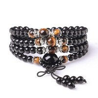 Wholesale Tiger Woods Sale - Hot Sales Women Men Jewelry Obsidian Tiger Eye Buddhist Buddha Meditation Beads Wood Prayer Beaded Mala Bracelet