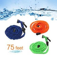 Wholesale Expand Flexible Hose - US Stock! 75 Feet Latex Expanded Flexible Garden Water Hose with Spray Nozzle 3 Colors Free Shipping