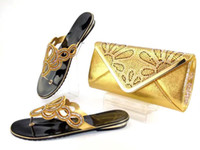 Wholesale Dress Shoes Bag - Gold Color African Wedding Shoes and Bag Sets Shoe and Bag Set Women Pumps Decorated with Diamonds Italian Matching Shoe