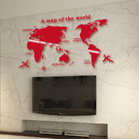 Wholesale Glass Airplane - World Map Wall Sticker Handmade Airplane PVC Wall Decals Stickers For Office Living Room Home Decoration-Mult size