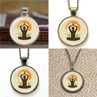 Wholesale Zen Jewelry Wholesale - 10pcs Yoga Lotus Position Zen Jewelry glass cabochon dome Necklace keyring bookmark cufflink earring bracelet