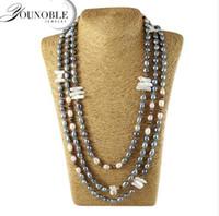 perlas negras de mejor calidad al por mayor-Collar largo de perlas de agua dulce de las mujeres, collares de perlas naturales genuinos de la manera joyería de la boda regalo de cumpleaños mejor color negro