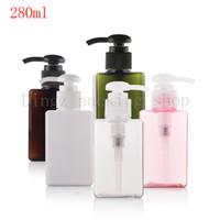 Wholesale Dispenser Pump Spray - Wholesale- (10pcs) 280ML white pink brown square with lotion pump bottle Soap Dispenser Cream Bottle with Spray Pump Plastic empty bottles