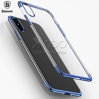 Wholesale Blue Series X - Baseus Ultra Thin transparent Case For iphone X Cases Glitter Series Plating Hard PC Plastic Shell Silm Hard Back Cover retail package