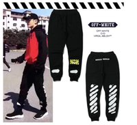Wholesale Straight Man Casual Pants - Autumn winter WARM OFF WHITE PANTS Skateboards Sport Pants Hip Hop High Quality Fashion long Men's Pants