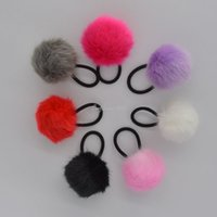 Wholesale Elastic Hair Bands Ball - Fashion Elastic Pompom Ball Rope Ring Hairband Women Girls Hair Band Scrunchie Ponytail Holder Hair Accessories Party Favors
