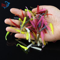 señuelos de pesca de plástico bajo al por mayor-200 UNIDS 4 cm / 0.3g Gusanos de Pesca de Bajo 10 Colores de Silicona Señuelos de Pesca de Plástico Suave Cebo Artificial de Goma en Jig Head Hook Uso