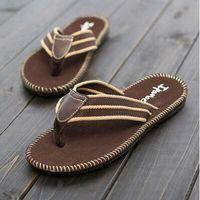 Wholesale Black Rubber Flip Flops - Free shipping Men's Slippers sandals Flip flops Summer Non slip soles and beach shoe Rubber sole Manual sewing Denim surface black A-15