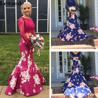 Wholesale Vintage Pattern Missing - Lace Floral Print Two Piece Homecoming Prom Dress 2017 Beaded Long Sleeve Pageant Evening Gown Mermaid Flower Pattern Skirt Lewande 50488