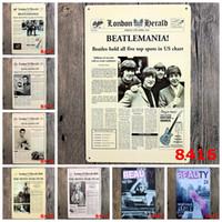 beatles toptan satış-Beatles Elvis Presley Monroe 20 * 30 CM Kalay Posteri Çerçevesiz Retro Demir Boyama Kahve Dükkanı Için Metal tabela Yüksek Kalite 4rjF