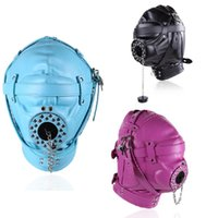 Wholesale open mouth mask sex - Adult Products Fetish PU Leather Bondage Hood Open Mouth Sex Slave Gag Mask Hoods BDSM Restraints Erotic Sex Toys For Couples