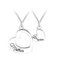 украшения для дня матери оптовых-Оптовая продажа-двойное сердце кулон ожерелье лучший подарок между матерью и дочерью в форме сердца ожерелье ювелирных изделий День матери подарок кулон