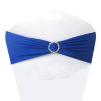 Wholesale Blue Spandex Chair Covers - Royal Blue Spandex Lycra Chair Sashes Elastic Satin Chair Bands with Buckle for Wedding Chair Cover Sashes Bows Wholesale